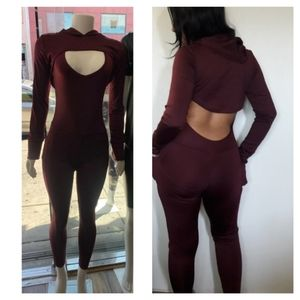 NWT Burgundy Hooded  Workout Bodycon Jumpsuit S-XL